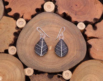 Handmade Fused Glass Earrings, Real Leaf Earrings, Natural Earrings, Statement Earrings, Fused Glass Earrings, Gift for her, Gift for mom