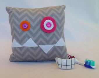 Monster Tooth Fairy Pillow - gray chevron, white teeth, gray back