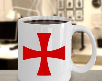 Knights Templar coffee mug - Templar cross cup - masonic gifts