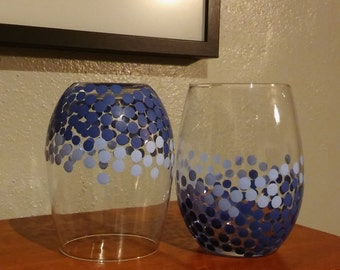Stemless Wine glass in Dark Blue Ombre