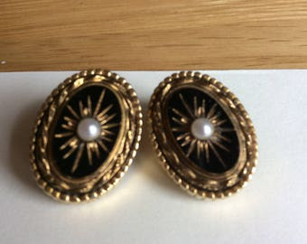 Vintage Sphinx Victorian Revival Clip Earrings