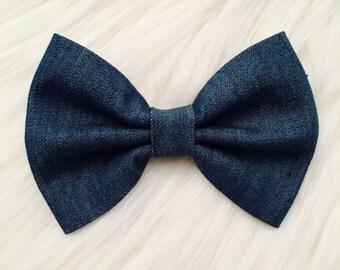 Denim Hair bow / fabric hair bow / headband / Girl's Hair bow / Baby Hair bow / bow tie