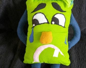 Jade, hand puppet green Doggie Doggie puppet green lime doggy sad puppet Deco child dog child child