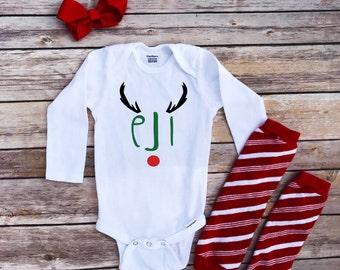 Christmas onesie, Custom christmas onesie, personalized christmas onesie, Reindeer Initials, reindeer onesie, Christmas baby girl, baby boy