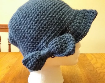 Hand Crochet cap with Bow