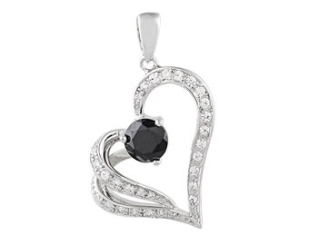 TAIPAN heart pendant necklace 925 Sterling Silver Friendship gift zircon in 2 colors