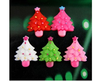 20 Flat back Resins Christmas Tree Resin Flatbacks Flat Back Cutest Xmas Trees Red Green White Pink Look Like Candy Size 25MM x 20mm HoHoHo
