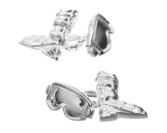 Ski Boot and Goggles Cufflinks in Sterling Silver