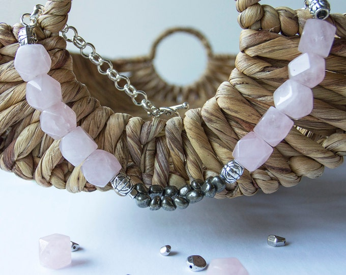 Rose quartz Necklace, Pyrite Choker, Sterling silver chain, Statement Necklace, Handmade Jewelry