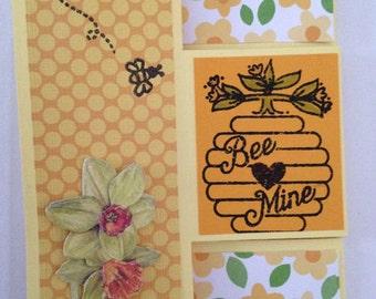 Handmade Bee Mine Tri Shutter Valentine Card