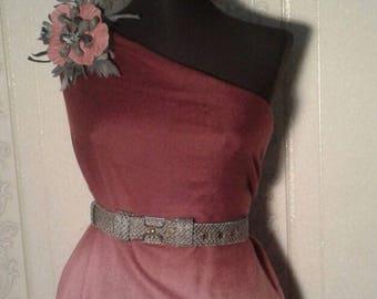 "Brooch-Pendant ""Pink Flower"" Genuine leather"