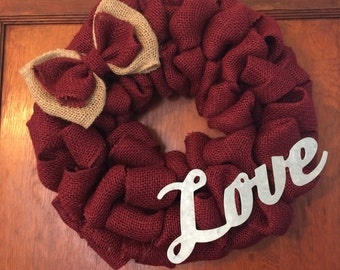 "12"" burlap Love Wreath"