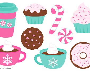 Peppermint, Mocha, Coffee, Candy Cane - Cute Clipart, Clip Art - Commercial Use, Instant Download | V3