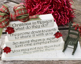 Rustic Christmas in Heaven Holiday Decoration With Rocking Chair, Christmas in Heaven Poem, Christmas Memorial Loved Ones, Holiday Display