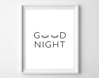 Good night, good night quote, Sleepy Eyes, Sleepy Eyes Scandinavian nursery, Sleepy Eyes printable, nursery art, nursery, digital file