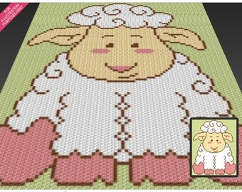 Little Lamb crochet blanket pattern; c2c, cross stitch; knitting; graph; pdf download; no written counts or row-by-row instructions