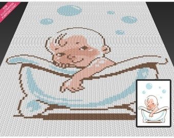 Baby Bathing crochet blanket pattern; c2c, cross stitch; knitting; graph; pdf download; no written counts or row-by-row instructions