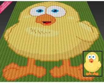 Chubby Chicken crochet blanket pattern; c2c, cross stitch; knitting; graph; pdf download; no written counts or row-by-row instructions
