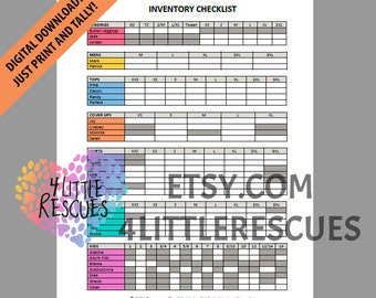 LLR Inventory Checklist | Printable PDF | Includes All Styles / Applicable Sizes | Print Tally | Group Sales | Initial Inventory Consultant
