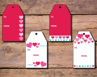 Valentine Pink Hearts Gift Tags