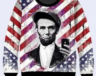 Lincoln Selfie Sweatshirt, Patriotic Sweatshirt, Mens Sweatshirt, Long Sleeve Tee, President Pullover, Sweat Shirt Stripes