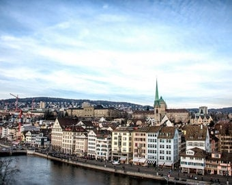 City of Zurich, Switzerland, Europe, Travel Photography, Fine Art Print, Home Decor