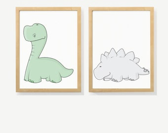 DINOSAURS Two set of unframed prints for nurseries, babies and kids' rooms.