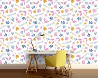 Nursery wallpaper, nursery wall decal, nursery wall mural, kids room wall decal, kids room wall mural, kids room mural, floral wallpaper