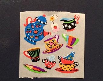 Sandylion vintage rare paper tea set stickers