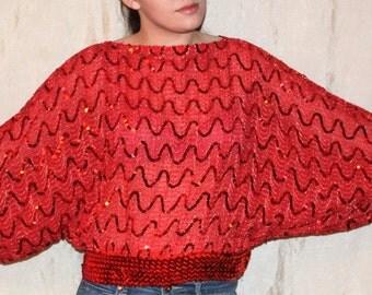 Vtg 70's Avant Garde ST.MARTIN Dolman Sleeve Zig Zag Sequin Stripe Top.Blouse Red Sparkle Disco