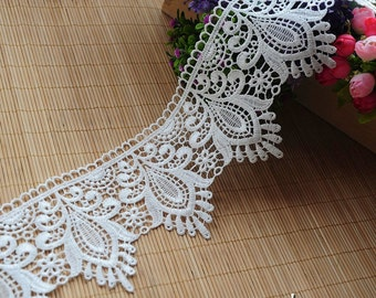 Off-White Venise lace trim embroidered with vintage Victorian patterns/Wide Lace Trim/Guipure Lace/White Wedding Lace by the yard VL-23-WH
