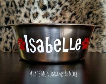 Stainless Steel Personalized Pet Bowl Custom Monogrammed With Your Pet's Name and Colors of Your Choice!