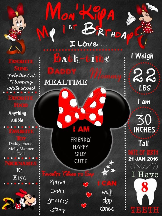 Minnie Mouse, 1st Birthday chalkboard, baby's first birthday, first birthday chalkboard, personalized, digital file, birthday chalkboard