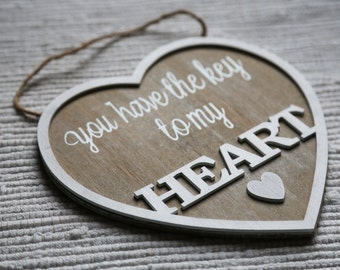 Hanging heart, decoration for home, Valentine's day ornaments. Wooden heart. Shabby chic heart. Home decor.