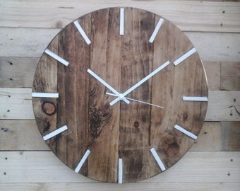 Rustic Pallet Wood Wall Clock Vintage 'White 12hr' Shabby Chic Old Vintage 40cm