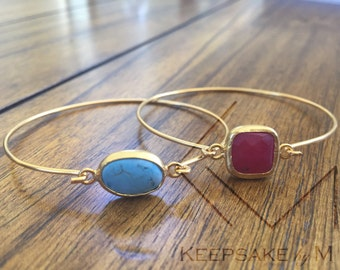 Turquoise & Ruby Cuff Bracelet