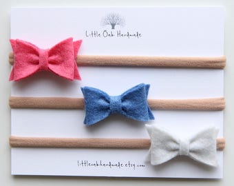 Set of 3 Wool Felt Bow Headband - Coral Pink, Blueberry, Antique White - Baby Headband - Nylon Headband