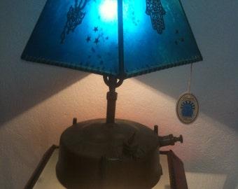 abajours chandeliers goatskin work handmade .travail handcrafted 100%.