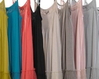 Dot Lace Trim Slip Dress with Adjustable straps