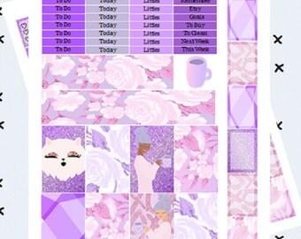 February Amethyst // Printable Planner Stickers // Weekly Kit // Happy Planner