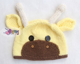Baby Giraffe Hat Knitting Pattern : Knit giraffe pattern Etsy