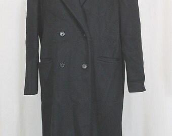 Vintage Wool Coat:  JG Hook Classic Women's Black Double Breasted Long Wool Winter Coat