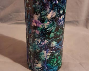 Alcohol Ink Vase, Greens, Blues, Purple Unique