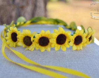 "The ""Daisy"" floral halo crown // summer festival crown, boho crown, summer wedding headpiece, bridesmaid headpiece, flower girl crown"