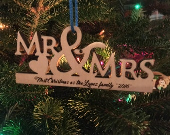 Christmas Ornament Handmade Mr and Mrs