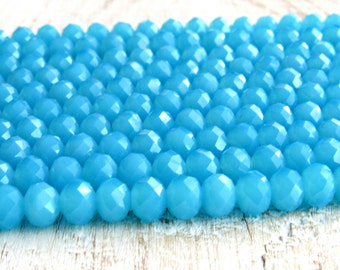 aqua blue Glass Beads, 8mm blue glass beads, faceted Rondelle, blue crystal beads, sky blue crystal beads, opaque glass beads, 8mm beads
