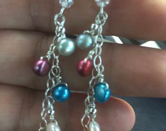 925 Sterling Silver Cultured Freshwater Pearl 5mm Dangle Earring