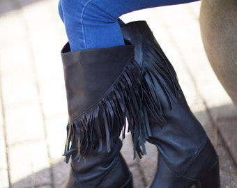 Woman's Fringe Black Leather Boots