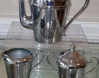Vintage Cromwell Chromium coffee server with creamer and lidded sugar bowl
