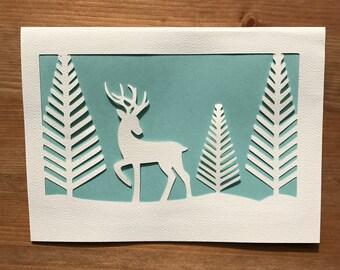 Papercut Reindeer Card